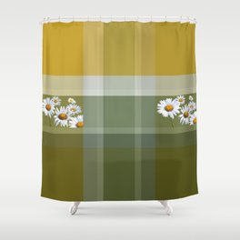 Plaid with flowers Shower Curtain