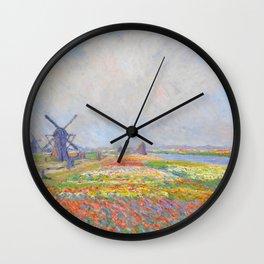 "Claude Monet ""Tulip Fields near The Hague"" Wall Clock"