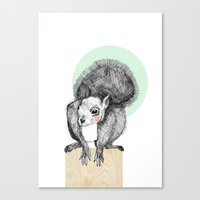 squirrel Canvas Prints featuring Squirrel by Wood + Ink