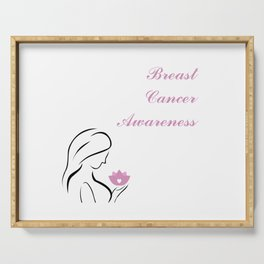 Woman holding a pink lotus which is a symbol of breast cancer awareness Serving Tray