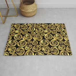 Bed of Roses in Gold and Black Rug