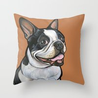 snoopy Throw Pillows featuring Snoopy the Boston Terrier by Pawblo Picasso
