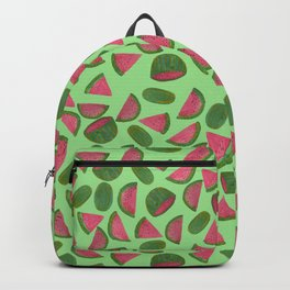 Whole Watermelons Wedged and Sliced Pattern on Mint Green Backpack