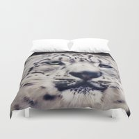 snow leopard Duvet Covers featuring Snow Leopard by Angela Dölling, AD DESIGN Photo + Photo