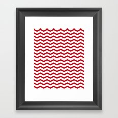Simple red, white zigzag. Framed Art Print