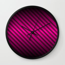 Pink and Black Gradient w/Black Lines Wall Clock