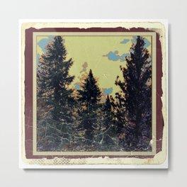 SHABBY CHIC ANTIQUE PHOTO PINE TREES ART Metal Print