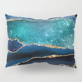 Blue Night Galaxy Marble Pillow Sham