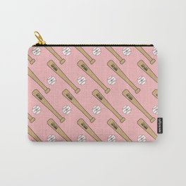 Baseball Bat and Ball Pattern (Pink) Carry-All Pouch