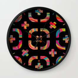 Psychedelic Curves + Crosses on Black (pattern) Wall Clock