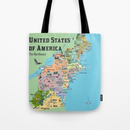 USA Northeast States Colorful Travel Map VA WV MD PA NY MS CT RI VE DE NJ With Highlights And Favori Tote Bag