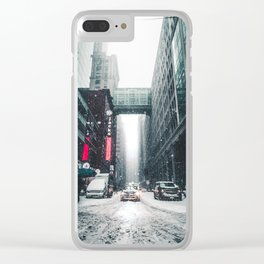 New york under the snow Clear iPhone Case