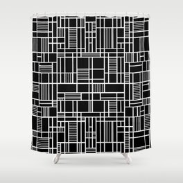 Map Lines Black Shower Curtain