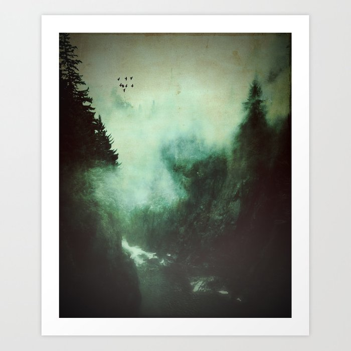 Morning dust on Mountains - Forest Wood Tree Art Print