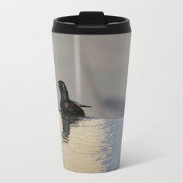 Little Purple and Green Bird on Blue Waters Edge Travel Mug