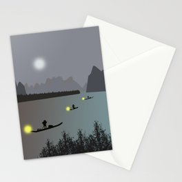 Chinese boats Stationery Cards