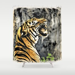 Tiger roar Woodblock Style Shower Curtain