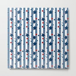 Red and blue stars on a striped background . Metal Print