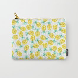 Trendy yellow green watercolor pineapple pattern Carry-All Pouch