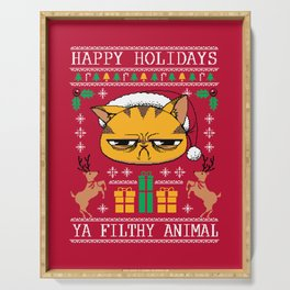 Ugly Holiday Sweater Cat Serving Tray