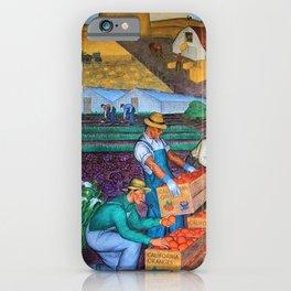 Orange Grove harvest portrait painting WPA mural iPhone Case