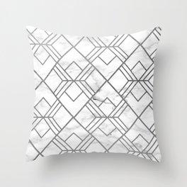 Geometrical white gray faux silver marble Throw Pillow