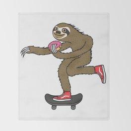 Skater Sloth loves donut Throw Blanket