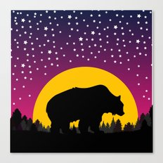 Bear Stars Moon Canvas Print