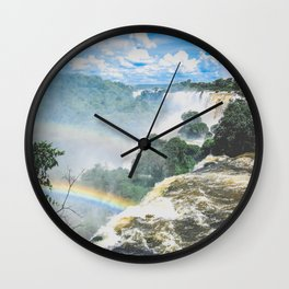 rainbow over waterfalls Wall Clock