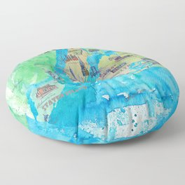 New York City Favorite Travel Map with Touristic Highlights Floor Pillow