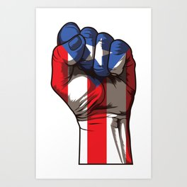 Puerto Rico Fist   Proud Boricua Flag Art Print