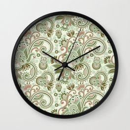Oriental Persian Paisley, Swirls - Green Pink Wall Clock