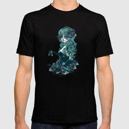 Sugar skull girl in blue T-shirt
