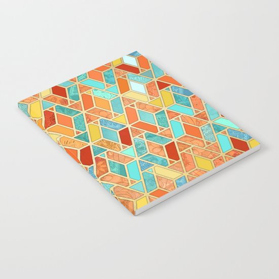 Tangerine & Turquoise Geometric Tile Pattern Notebook