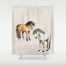 two Welsh ponies watercolor Shower Curtain