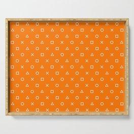 Orange Gamer Pattern Serving Tray