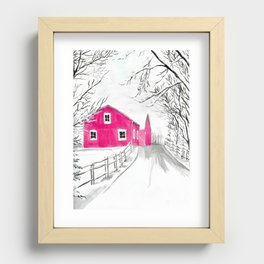 Red Barn in the Snow Recessed Framed Print
