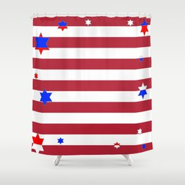 PATRIOTIC JULY 4TH  RED STARS DECORATIVE DESIGN Shower Curtain