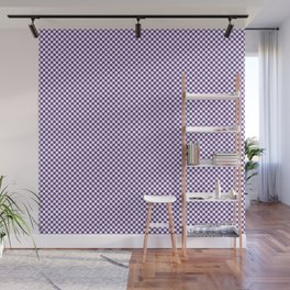 Deep Ultra Violet and White Mini Check 2018 Color Trends Wall Mural