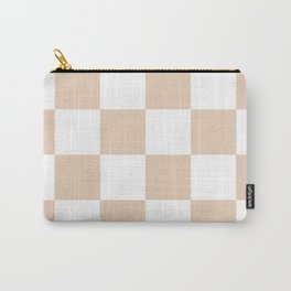 Large Checkered - White and Pastel Brown Carry-All Pouch