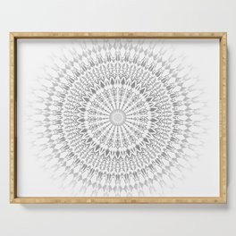 Gray White Mandala Serving Tray