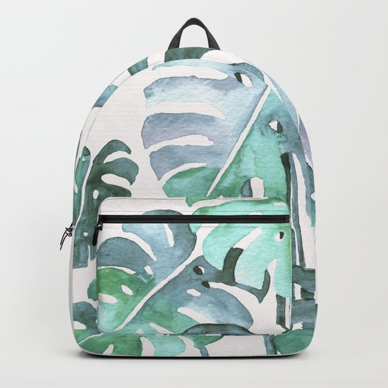 Delicate Monstera Blue And Green #society6 Backpack