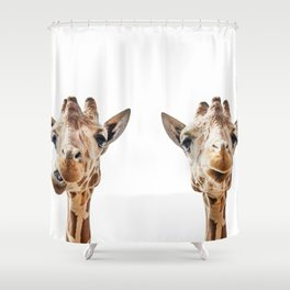 Funny Giraffe Portrait Art Print, Cute Animals, Safari Animal Nursery, Kids Room Poster, Wall Art Shower Curtain