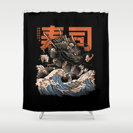 The Black Sushi Dragon Shower Curtain