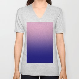 Cotton Candy Pink to Navy Blue Linear Gradient Unisex V-Neck