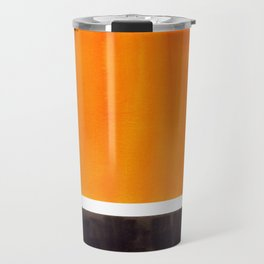 Minimalist Mid Century Modern Color Block Pop Art Rothko Inspired Golden Yellow Black Squares Travel Mug