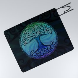 Tree of Life - Cool Blue Picnic Blanket