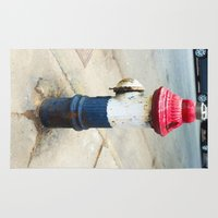 patriotic Area & Throw Rugs featuring Patriotic Hydrant by Cwilwol