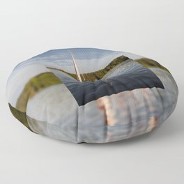 white boat sailing view Floor Pillow