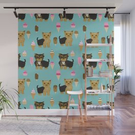 Yorkie ice cream gifts yorkshire terrier dog lover pet friendly patterns minty Wall Mural